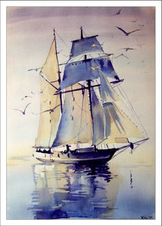 Exceptional use of color to capture the sunlight and shade on the sails. Watercolors by Katarzyna Kos Watercolor Water, Watercolor Landscape, Watercolour Painting, Landscape Paintings, Water Color Painting Landscape, Watercolours, Ship Paintings, Boat Art, Boat Painting