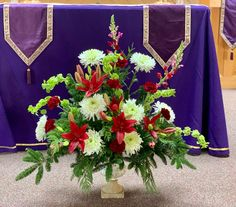 Altar arrangement for a winter wedding:  Red lilies, white spider mums, and green Bells of Ireland, with white pine, fraser fir, cedar, and variegated holly, in a stoneware urn, $200 Fraser Fir, Spider Mums, Red Lily, Wedding Altars, Real Flowers, Lilies, Urn, Special Events, Stoneware