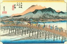 Hiroshige - The Fifty-three Stations of the Tōkaidō  The end of the Tōkaidō: arriving at Kyoto.