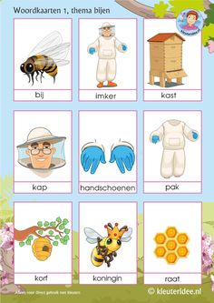 Woordkaarten voor kleuters, thema bijen 1,  juf Petra van kleuteridee, Preaschool bees theme, free printable Bee Crafts, Preschool Crafts, Project Based Learning, Kids Learning, Preschool First Day, Learn Dutch, Bee Free, Dutch Language, Bugs And Insects