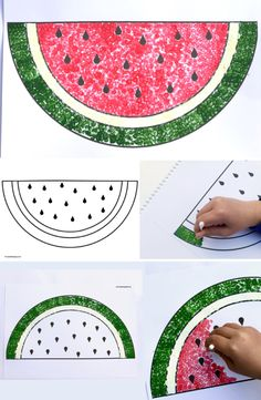 How to Paint a Watermelon with Cotton Buds & Make Film Play - Swap the paintbrushes for cotton buds and let& do some dot art! Summer Crafts For Toddlers, Easy Art For Kids, Craft Activities For Kids, Toddler Crafts, Preschool Crafts, Projects For Kids, Watermelon Painting, Watermelon Crafts, Fruit Crafts