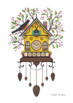 """Robin's Cuckoo Clock"" / vector drawing printed on watercolor paper and finished with colored pencils / by Wendi M. Moore"
