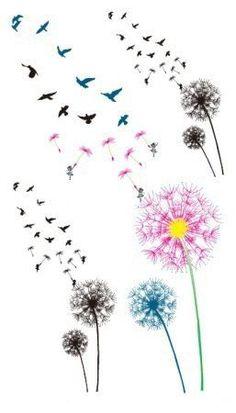 Color the dandelion birds Temporary Tattoo6pcs in 1 by NiceTatoos | Health & beauty | Pinterest | Faith tattoos, So cute and Birds
