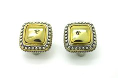 18k Gold Filled, Two Tones Square Style Stud Earrings, French Back  #Stud
