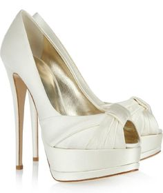 ivory bridal shoes | Ivory High Heel Wedding Shoes - Ivory satin platform peep-toe pumps ...