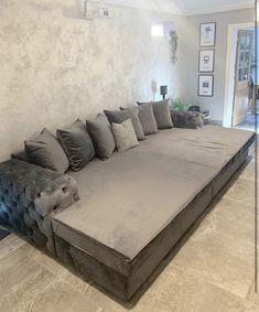 Giant silver/grey sofa /bed cinema style home. Home Theater Room Design, Home Cinema Room, Home Theater Rooms, Bed Cinema, Daybed Room, Sofa Bed, Silver Living Room, Hypebeast Room, Luxury Bedroom Design