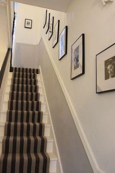 Ideas for the house hallway decorating, hallway designs, hallway colours. Dado Rail Hallway, Hallway Paint, Grey Hallway, Modern Hallway, Paint Stairs, Long Hallway, Dado Rail Living Room, Entry Hallway, Home Decor