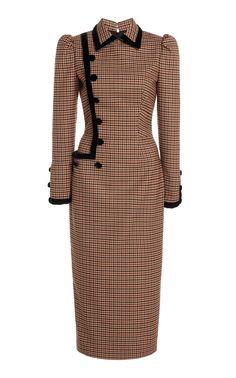 Velvet Gown, Velvet Midi Dress, Herzog, Mid Length Dresses, Wool Dress, Classy Outfits, Dress Outfits, Women's Dresses, Gingham