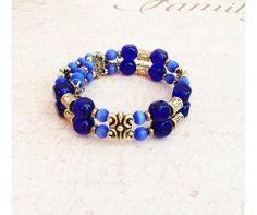 Czech Druks Catseye Gold Wrap Bangle Bracelet Fits by lindasnest, $42.00