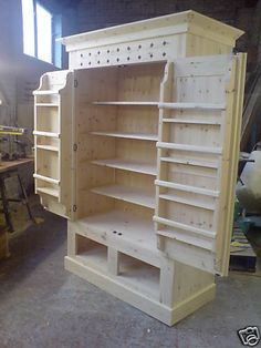 Details About Handmade Solid Pine Kitchen Larder Cupboard Unwaxed - pinupi love to share Furniture Projects, Furniture Plans, Kitchen Furniture, Wood Furniture, Wood Projects, Furniture Storage, Furniture Outlet, Luxury Furniture, Furniture Design