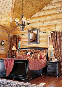 Beautiful contrast between dark furniture & log walls