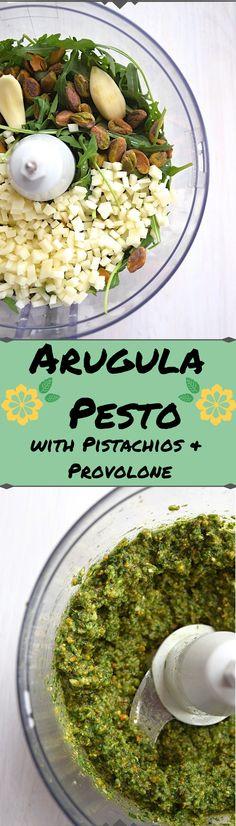 Arugula Pesto with Provolone & Pistachios - A Stray Kitchen