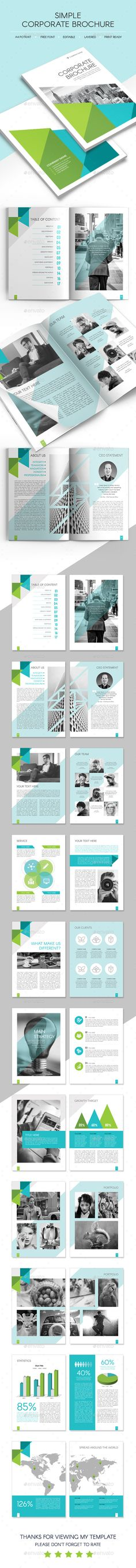 Simple Corporate Brochure Template #design Download: http://graphicriver.net/item/simple-corporate-brochure/14511212?ref=ksioks