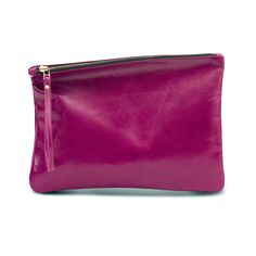 MAGENTA leather purse evening bag fold over clutch by LeahLerner
