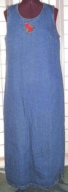 Studio Ease Sz 12 Blue Denim 100% Cotton Long Maxi Shift Dress #StudioEase #Shift