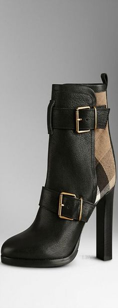 Burberry ♥✤Check Panel Belted Buffalo Leather Boots