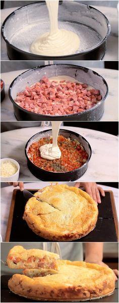 Uma torta DIVINA, DELICIOSA que você nem imagina como é feita e vai se surpreender quando descobrir! #torta #tortasalgada