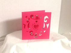 Flourishing Heart Valentines Day Card , blank , Free confetti , Spouse , Hearts , Red , Rhinestones by PatchyPeanut on Etsy