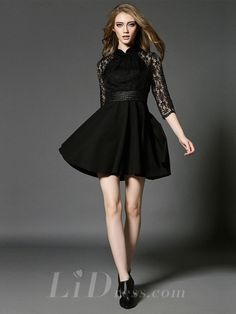 Spring 2016 Half Sleeves Black Short Dress