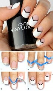 Best Gel Nail Designs - Black and White Chevron Nails With Gel Polish - Beautiful Gel Nail Designs And Pictures Of Manicures And Nailart To Give You Some Awesome Fashion Style. Step By Step Tutorials And Tips And Tricks And Ideas For Shape And Colour. Black And White Nail Designs, Gel Nagel Design, Nagellack Design, Chevron Nails, Aztec Nails, Nagel Gel, Super Nails, Nail Tutorials, Gorgeous Nails