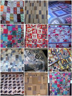 Quilts made from old shirts. Be sure to use 100% cotton. Poly/cotton blend fabric makes both piecing and hand quilting more difficult.