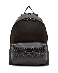 Black studded leather trimmed backpack, by GIVENCHY Backpack Purse, Leather Backpack, Studded Backpack, Givenchy Backpack, Laptop Backpack, Mochila Jansport, Fashion Bags, Mens Fashion, Lover Fashion