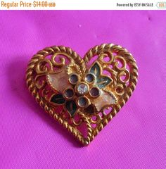 SALE Vintage I love you Heart Brooch Pendant by VintageVarietyFinds on Etsy