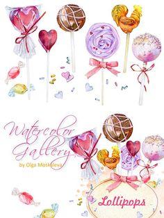 Set of watercolor candy Saint Valentine, Valentines, Valentine Drawing, Watercolor Fruit, Candy Art, Printable Designs, Food Art, Art For Kids, Iphone Wallpaper