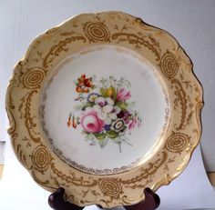EARLY C19TH JOHN ROSE COALPORT HAND PAINTED PLATE FLOWERS WITHIN A BORDER #DessertPlates