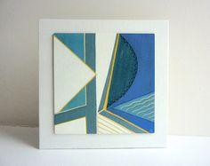 cubist art painting geometric art wood wall art by catchaleaf