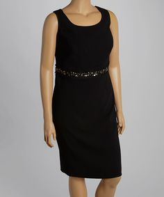 Another great find on #zulily! Black Bead Sheath Dress - Plus by JM Studio #zulilyfinds