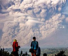 View of the erupting volcano Sinabung, North Sumatra, Indonesia. 09/02/15