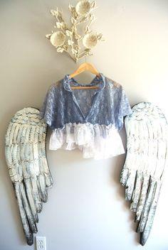 Lace shrug romantic country ruffle shirt boho by TrueRebelClothing, $56.00