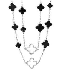 Look what I found on #zulily! Black & Silvertone Clover Necklace #zulilyfinds