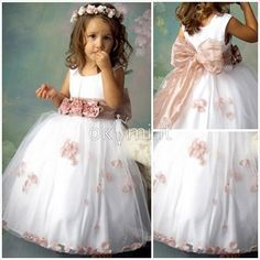 de444aa18822 Abito da Cerimonia Bambini A-Line Naturale in Organza Chiffon Coperta Kids  Party Frocks