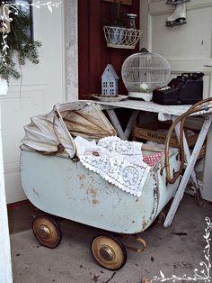 Baby blue vintage/antique pram/carriage