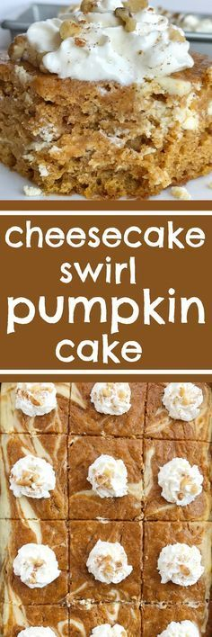 Cheesecake swirl pumpkin cake is a moist and flavorful pumpkin cake loaded with warm pumpkin spices and has a sweet cheesecake swirl. Garnish with whipped cream and chopped pecans for a delicious pumpkin dessert recipe | www.togetherasfamily.com #pumpkin