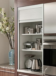 Aluminum Tambour Cabinet - contemporary - Kitchen - Other Metro - Wood-Mode Fine Custom Cabinetry Kitchen Cabinet Storage, Custom Kitchen Cabinets, Custom Kitchens, Home Kitchens, Custom Cabinetry, Small Kitchens, Aluminum Kitchen Cabinets, Kitchen Small, Open Kitchen