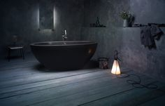 PRODUCT DETAILS: The solid stone surface Karolina by Aquatica freestanding bathtub is the essence of power and luxury. Constructed ergonomically for luxurious soaking, it feels as though the stone is Bathtubs For Sale, Best Bathtubs, Solid Surface, Black Bathtub, Bathroom Black, Stone Bathtub, Sombre, Black Walls, Bathroom Inspiration