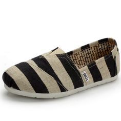 Life Will Be Perfect With Toms Womens Stripe Shoes Black Cream! Come On!