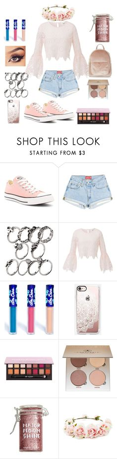 """""""Outfit #61-Coachella Outfit!!"""" by jaelyn-davis447 ❤ liked on Polyvore featuring Converse, Lime Crime, Casetify, Anastasia Beverly Hills, Major Moonshine, Forever 21 and New Look"""
