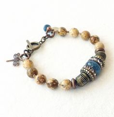 Picture Jasper Blue Angelite Bracelet Boho Trending Country Cottage Chic Stacking Trendy Mixed Metals Rustic Jewelry Trends Gift Under 35 Tribal Bracelets, Trendy Bracelets, Bohemian Bracelets, Gemstone Bracelets, Fashion Bracelets, Rustic Jewelry, Modern Jewelry, Boho Jewelry, Jewelry Gifts