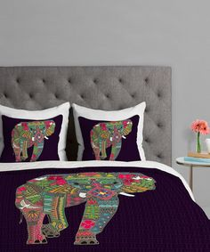 Another great find on #zulily! Painted Elephant Duvet Cover #zulilyfinds