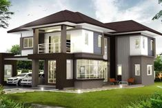 2 Storey Modern Asian Designed House with 4 Bedrooms - House And Decors Narrow Living Room, Small Living Room Design, Small House Design, Modern House Design, Style At Home, Modern Style Homes, Double Storey House, 2 Storey House Design, 4 Bedroom House
