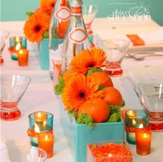 Tangerine and turquoise...