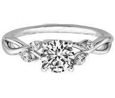Engagement Ring - Round Diamond Floral Engagement Ring Marquise Vine in 14K White Gold - ES1102