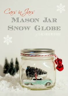 DIY snow globe in a mason jar