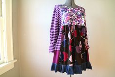 Funky Boho Floral Tunic, XLarge 1X Plus Size Upcycled Tunic, Upcycled Clothing, Plus Size Cotton Tunic, Refashioned Loose Fit Clothing Sized XLarge - 1X, even up to a 2X as there is stretch through most of the garment. Please see below for garment measurements.  This is a super comfortable loose fit, cotton knit tunic....designed in a flattering style! This is a unique one-of-a-kind, art to wear garment.  A fabulous composition in coordinating purples, brown and navy...florals, stripes and…