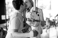 A playful carousel engagement session at Toronto Island Amusement Park // photos by GreenAutumn Photography: http://www.greenautumn.ca || see more on http://www.artfullywed.com