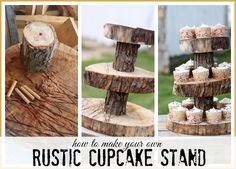 a step-by-step tutorial on how to make a Rustic Wood Cupcake stand - I just love this look - perfect for wedding or parties!